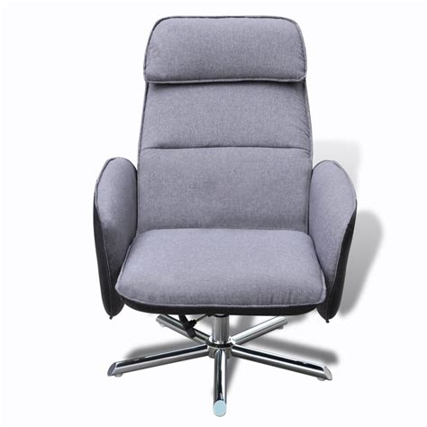 home tv armchair adjustable recliner with foot stool grey