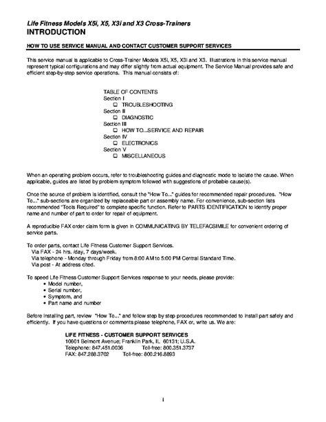 LIFEFITNESS X5I X5 X3I X3 CROSS-TRAINERS SM Service Manual