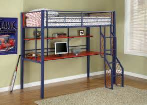 metal loft bed with desk and shelves bedroom ideas pictures