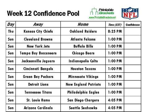 printable nfl schedule week 12 nfl confidence pool week 12 football confidence pool week 12