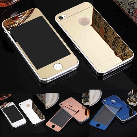iphone 4 4s mirror 2pcs front back with logo 4 4s mirror tempered glass