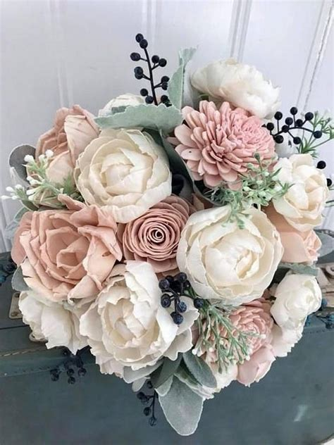 15 Adorable Navy Blue and Blush Pink Wedding Bouquets