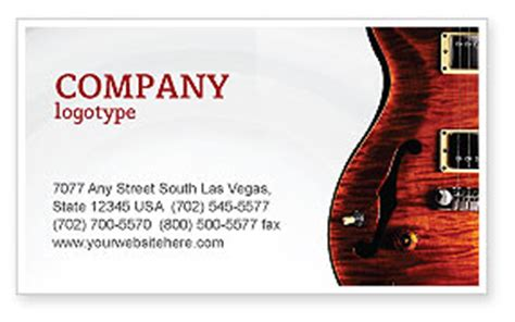guitar business card templates semi acoustic guitar business card template layout
