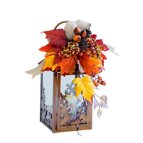 home accents 13 in small harvest lantern with led