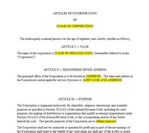 Articles Of Incorporation Template Free by Nonprofit Articles Of Incorporation Harbor Compliance