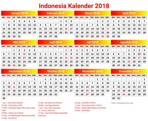 printable calendar 2018 indonesia kalender 2018 images invitation sle and invitation design