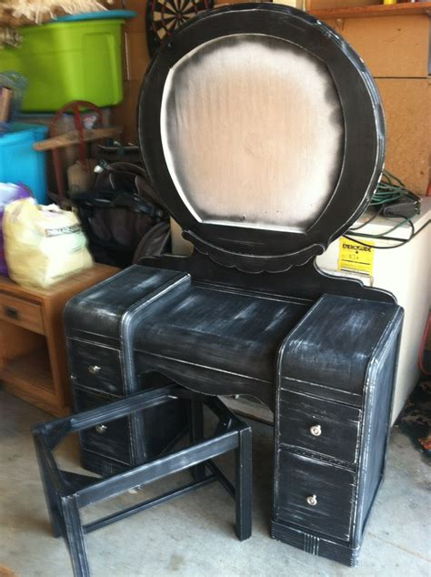 Black Dresser Without Mirror Refinished Vanity Without Mirror And Upholstery Black Distressed Things I Created