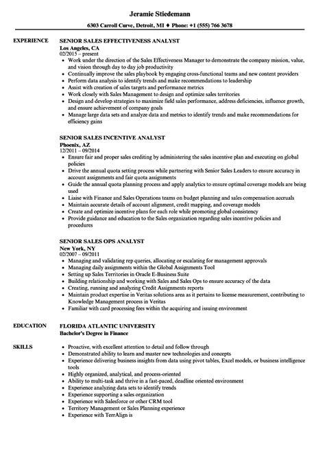 sales analyst senior resume sles velvet