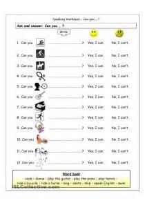 speaking worksheet can you exercises pinterest