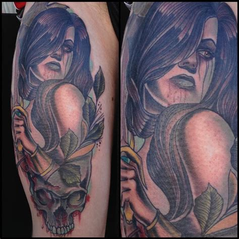 traditonal color tattoo with skull gary dunn art