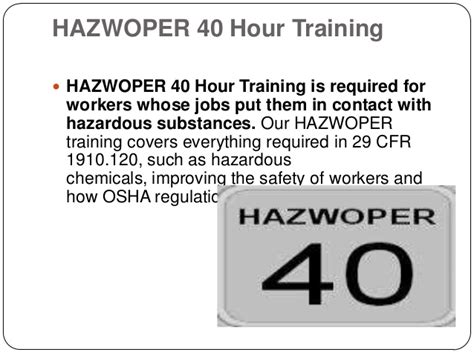 29 cfr 1910 section 120 requirements for hazwoper training