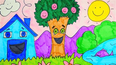 spring pictures to draw how to draw spring season scenery easy for kids youtube
