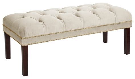Tufted Accent Bench Tufted Nail Button Bench Transitional Accent And