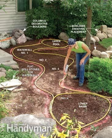 build a backyard waterfall and stream the family handyman