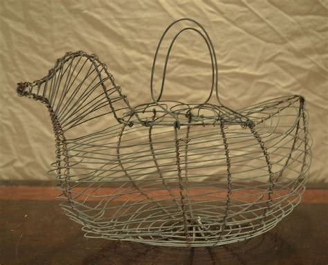 vintage primitive rustic wire chicken egg basket hen farm