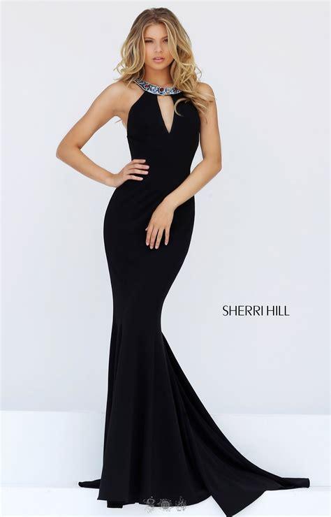 sherri hill  beaded halter neckline fitted dress