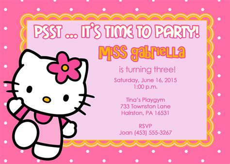 hello kitty printable invitation template party invitations free template best template collection