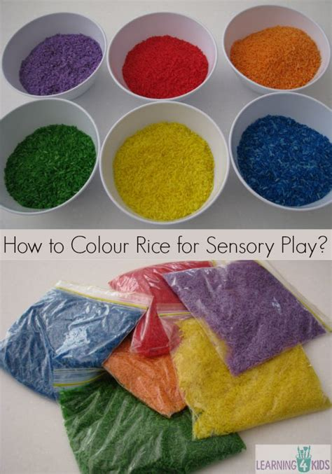 Tops Fine Art how to colour rice for sensory play learning 4 kids