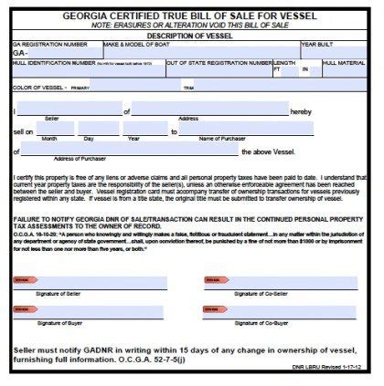 ga vessel registration form free georgia boat bill of sale form pdf word doc
