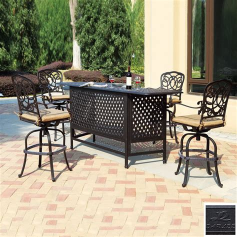 bar patio set shop darlee 5 florence cushioned cast aluminum patio