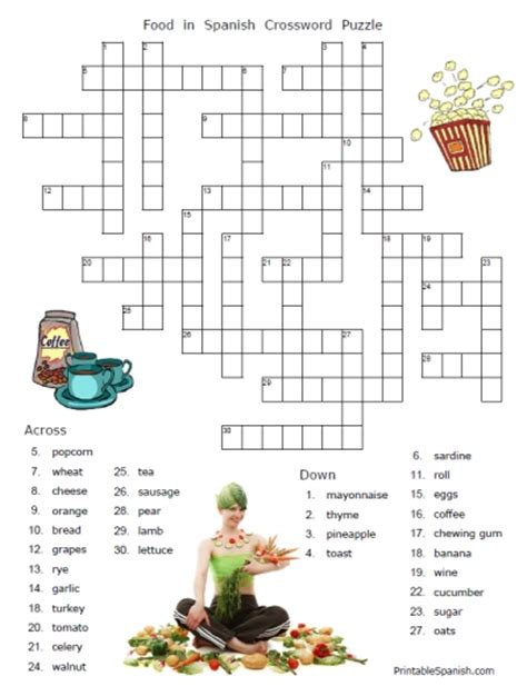 easy crossword puzzles about food free printable food words in spanish puzzle worksheets and