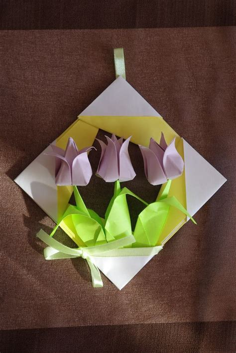 Pastel Origami Paper - pastel bouquet tulips in frame origami paper