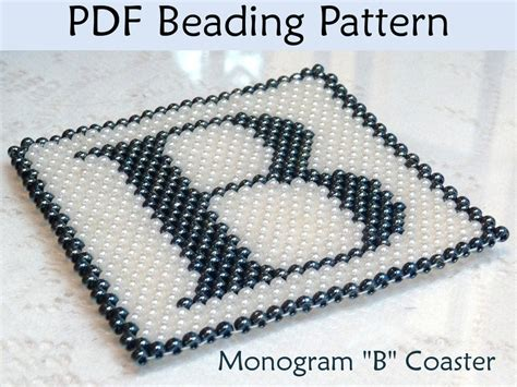 peyote monogram b coaster pdf beading pattern by