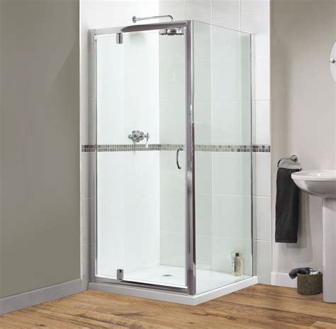 Aqualux Shine Pivot Shower Door 760mm Polished Silver 760mm Pivot Shower Door