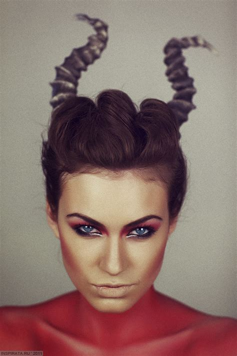 halloween hairstyles devil female devil makeup with horns and red body makeup