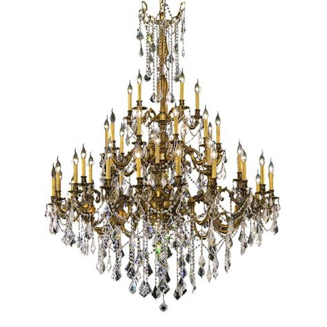 Gold Chandeliers Lighting 45 Light Gold Chandelier With Clear El9245g54fg Rc The Home Depot