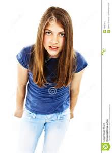 images teenage girl: angry teenage girl standing isolated against white background and