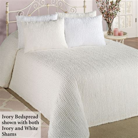 Solid Color Quilts And Coverlets Channel Cotton Chenille Bedspread Bedding