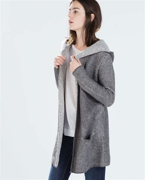 zara knit cardigan zara knit hooded cardigan in gray lyst