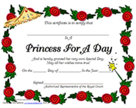 princess certificate template free printable princess for a day award certificates