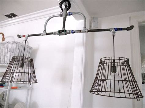 Wire Basket Chandelier Pipes And Wire Baskets Island Chandelier Chandeliers Pinterest