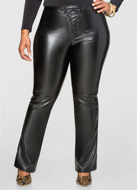 Up Front lace up front faux leather plus size