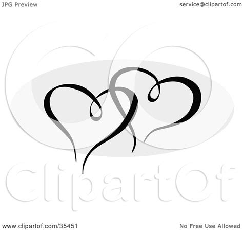 entwined heart tattoo designs clipart illustration of two black hearts entwined a