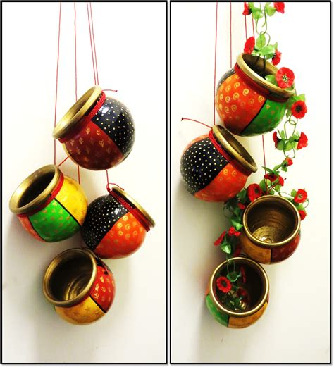 home decoration items indian painted clay pots painted lots of
