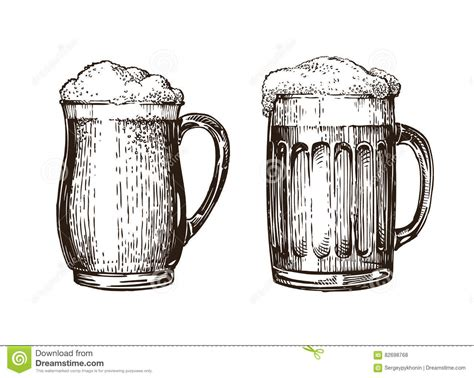 mug design background vector hand drawn beer mug elements for design menu restaurant