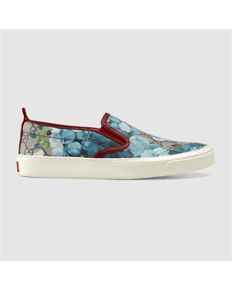 Slip On Gucci Flower Premium gucci gg supreme blooms slip on in floral gg blooms lyst