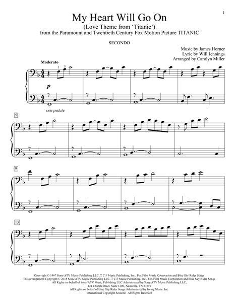 titanic canzone con testo my will go on theme from titanic sheet