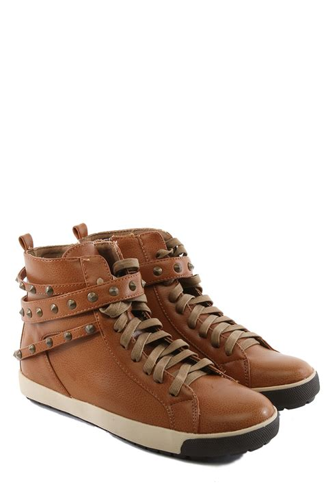 mogan shoes womens vintage lace up studded sneakers spike