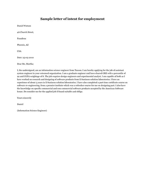 Letter Of Intent Exles For Internship Sle Letter Of Intent Application Sle Letter Of Intent For Employment