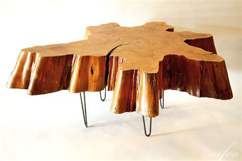 Wooden Stump Coffee Table Reclaimed Tree Stump Coffee Table On Vintage Hairpin Legs