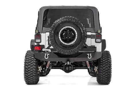 Jeep Wrangler Rear Bumper Rock Crawler Black Rear Heavy Duty Bumper For 07 17 Jeep