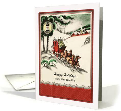 christmas greeting hair stylists hairdresser vintage sleigh ride card 879585