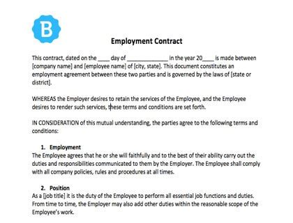 Employee Contract Template Free Download At Will Employment Contract Template