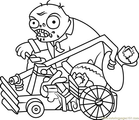 catapult zombie coloring page free plants vs zombies