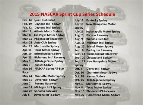 printable nascar schedule 2015 search results for large print 2015 nascar schedule