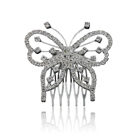 1pcs Tiara Hair Jewelry Butterfly Rhinestone Pin Comb Tiara Comb Promotion Shop For Promotional Tiara Comb On